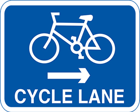 Cycle lane left arrow 3mm aluminium sign.