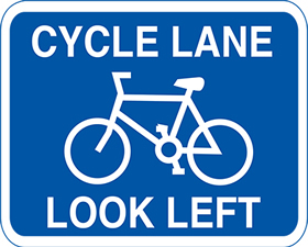 Cycle lane look left 3mm aluminium sign.