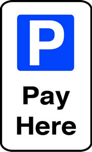 Pay here sign.