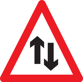 Two way traffic sign.