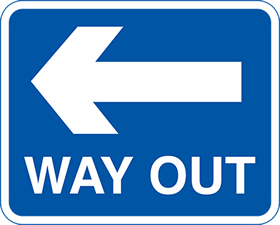 WAY OUT left arrow sign.