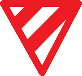 Inverted triangle with red diagional lines no reflective vinyl sign.