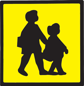 Self adhesive school kids on yellow background sign.