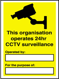 24 hour CCTV surveillance with text 1000 minimum order sign.