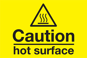 Caution - hot surface sign.