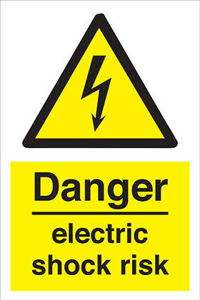 Danger electric shock risk label.