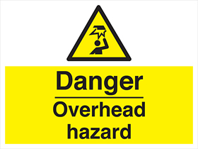 Danger - overhead hazard label.