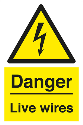 Danger Live wires label.