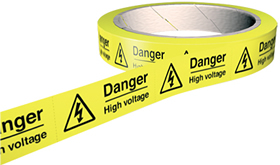 Danger high voltage 100 labels on roll sign.
