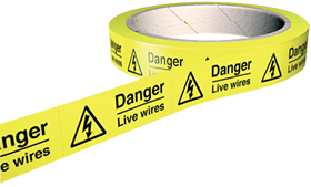 Danger live wires 100 labels on roll sign.