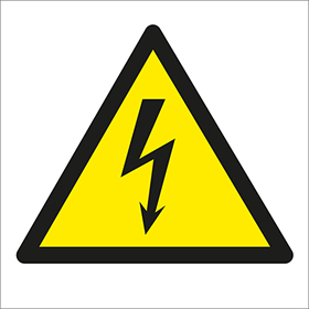 Electric shock symbol label.