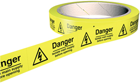 Danger isolate main supply before opening labels 100 per roll.