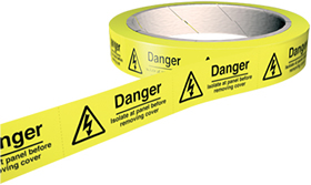 Danger isolate at panel before removing cover 100 labels on roll sign.