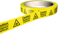 Caution dangerous chemicals 100 stickers per roll.