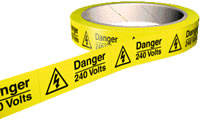 Danger 240 volts labels 100 per roll.