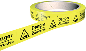 Danger corrosive 100 labels on roll sign.