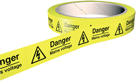 Danger mains voltage labels 100 stickers per roll.