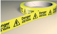 Roll of labels danger 230 volts. 100 labels on the roll. sign.
