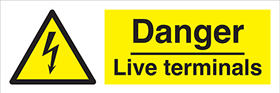 Danger Live terminals label.