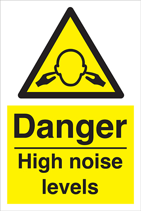 Danger high noise levels sign.