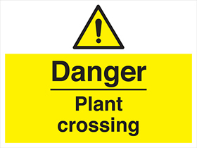 Danger plant crossing sign.
