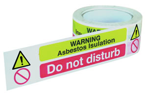 Warning asbestos insulation do not disturb (self adhesive tape) tapes.