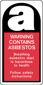 Warning contains asbestos label sign.