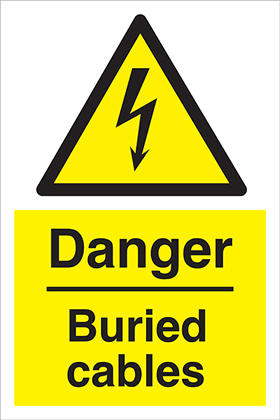 Danger buried cables 100 x 150mm label.