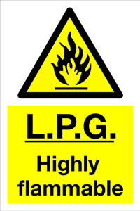 L.P.G. Highly Flammable sign.