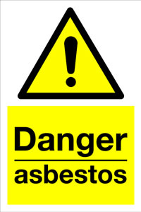 Danger asbestos sign.
