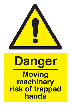 Danger Moving machinery risk of trapped hands sign.
