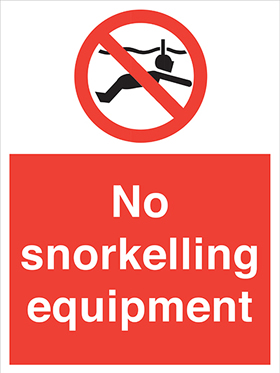 No snorkelling equipment sign.