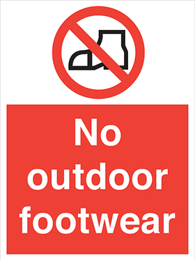 No outdoor footwear sign.