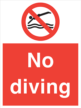 No diving sign.