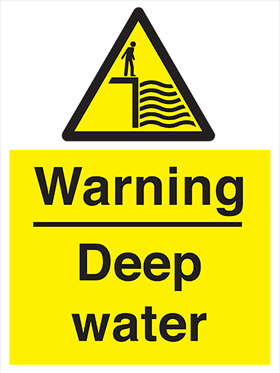 Warning deep water sign.