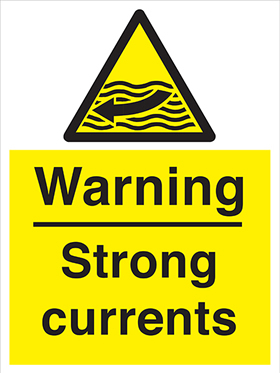 Warning strong currents sign.