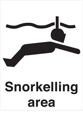 Snorkelling area sign.