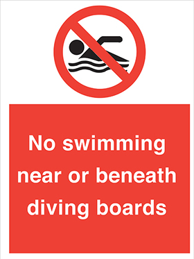 No swimming near or beneath diving boards sign.