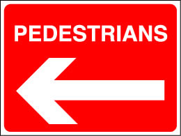 Pedestrians left arrow sign.