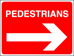Pedestrians right arrow sign.