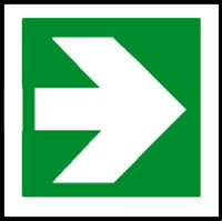 Fire exit arrow sign.