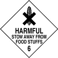 Harmfull stow away from food stuffs 6 sign.