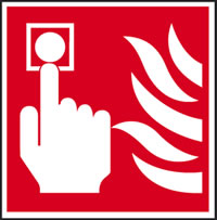 call point button and flame symbol sign.