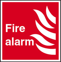 Fire alarm flame symbol sign.