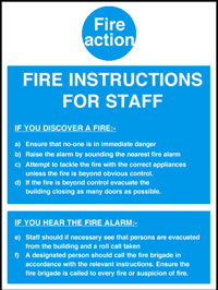 Fire instructions for staff sign.