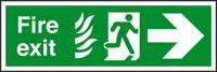 Fire exit fire man running arrow right sign.