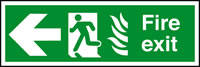 Fire exit fire man running arrow left sign.