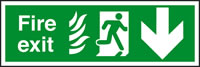 Fire exit fire man running arrow down sign.