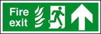 Fire exit fire man running arrow up sign.