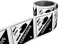 Corrosive 8 labels. 100 x 100mm self adhesive labels on roll of 250 labels. sign.